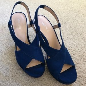 Nine West Suede Navy Blue Heels